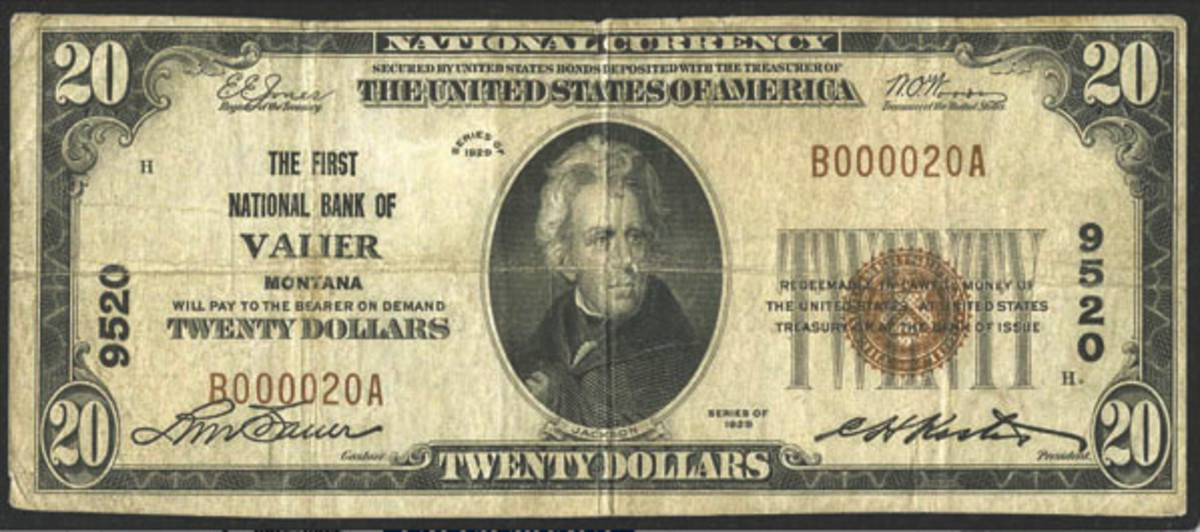 Here is a very rare small size $20 note issued by the First National Bank of Valier, Mont. Notes from this town rarely are available in the marketplace. (Photo courtesy Heritage Auctions)