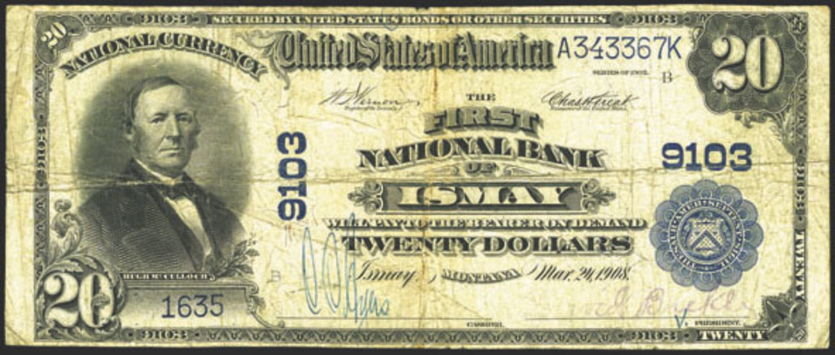This large size $20 note is the only large size note reported from the First National Bank of Ismay, Mont. The town, once bustling, is a virtual ghost town today, with little remaining from its heyday.