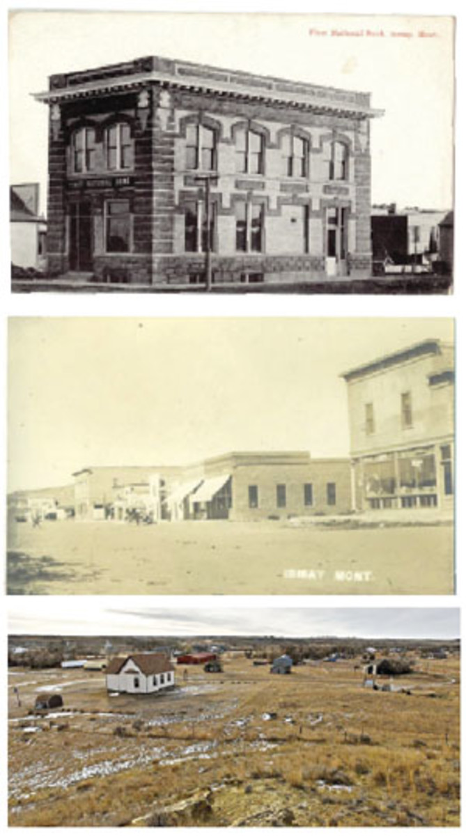 Top: The old First National Bank of Ismay, Mont., building as it appeared when the town was bustling. It has long since been demolished. Center: A vintage postcard view shows Ismay circa 1900. The bank building is not visible in this view. Bottom: This modern bird's-eye view shows what is left of Ismay today. It is hard to imagine from this photo what a bustling town Ismay was when its population was around 500.