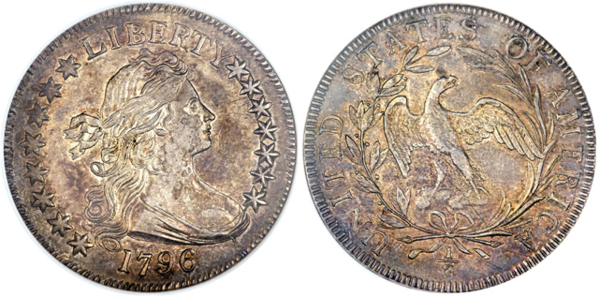 One out of many rarities in the Gardner auction is this 1796 half dollar, graded MS-62 by NGC.