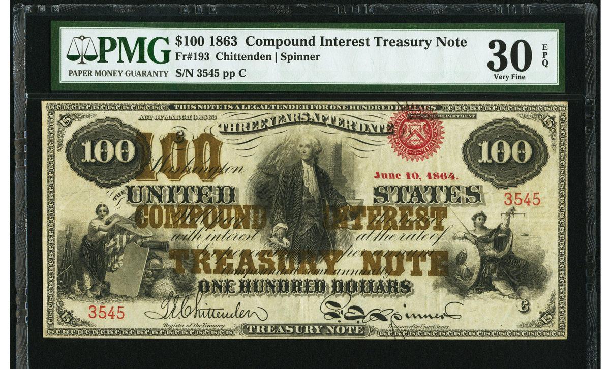 1863 $100 Compound Interest Treasury Note.