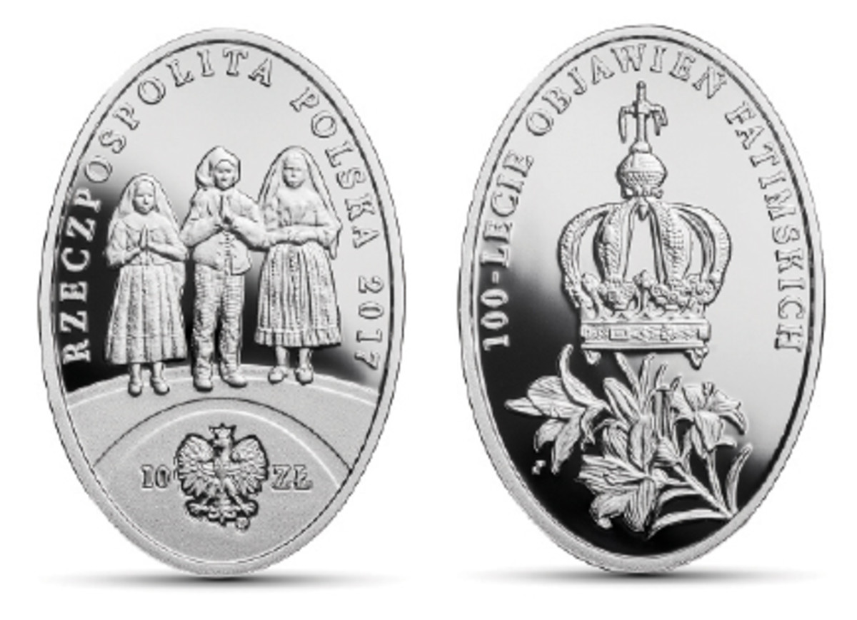 Obverse and reverse of the Polish 10 złotych silver proof struck to mark the centenary of the visions experienced by Lúcia Santos and her cousins Jacinta and Francisco Marto at Fátima. (Images courtesy Narodowy Bank Polski)