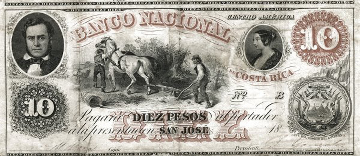 Is that Queen Victoria I see before me? Banco Nacional de Costa Rica 10 pesos of 1858, P-S211. The small effigy right of top center has been claimed to be that of Queen Victoria, but her profile differs from that of Her Majesty. (Image courtesy Foreign Currency & Coin Exchange, https://foreigncurrencyandcoin.com/)