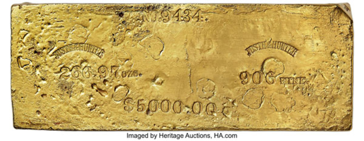 266.97 ounce gold ingot recovered from the S.S. Central America