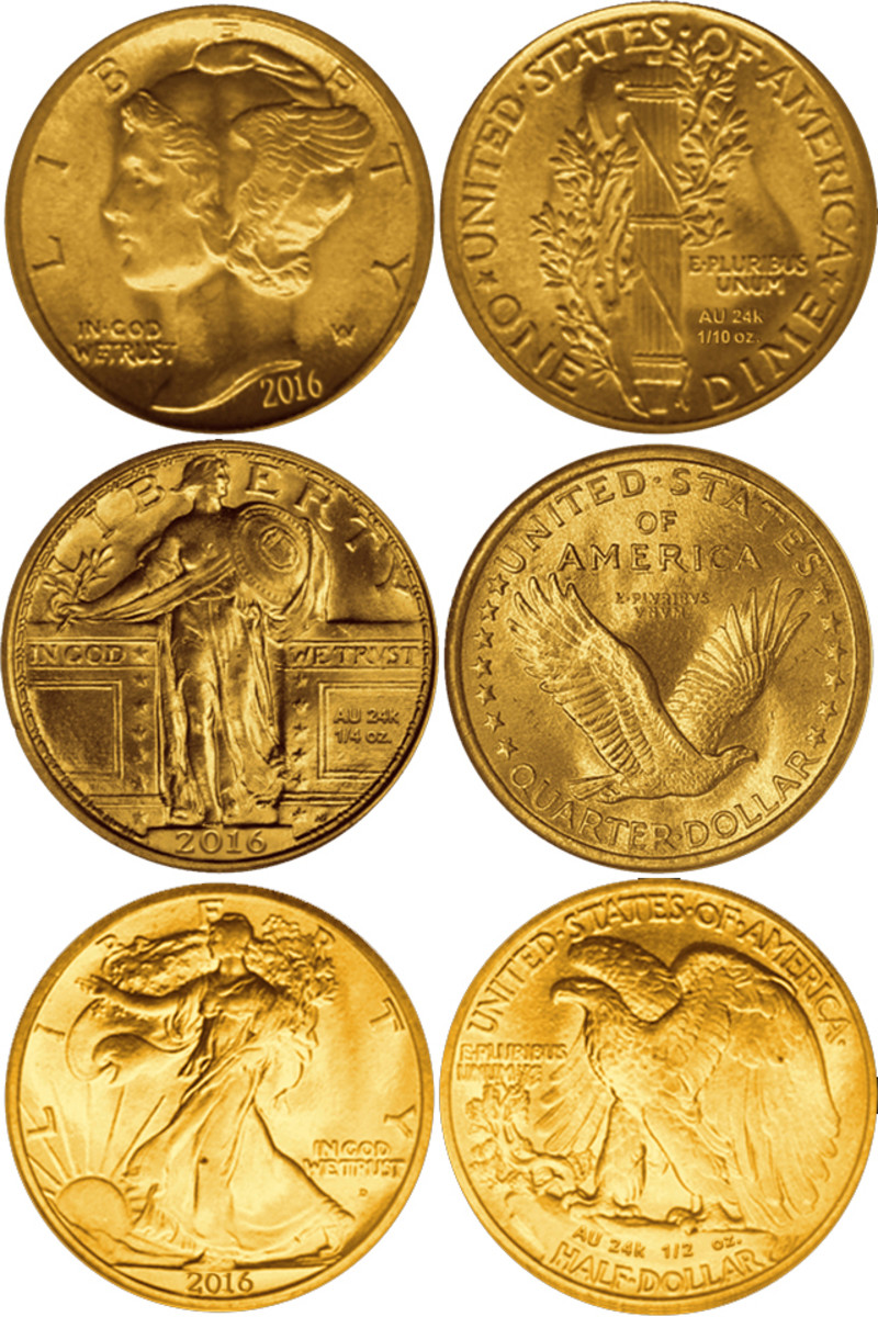 US Mint mockups of the 2016 classic coin designs, enlarged to show added details.