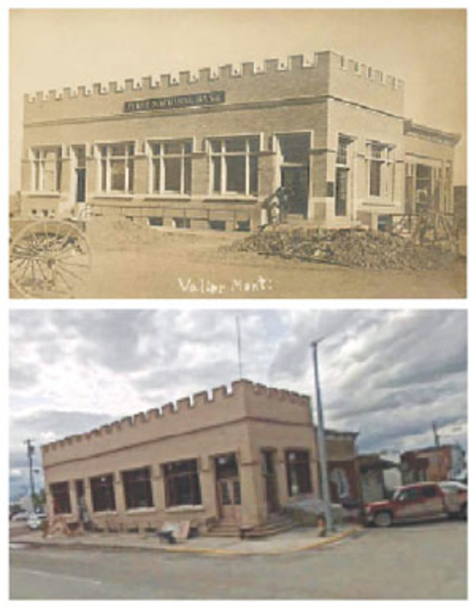 The vintage photo postcard view at top shows the First National Bank of Valier, Mont., as it was nearing completion in 1910. Compare this view to how the bank appears today (bottom). (Photo from the author)