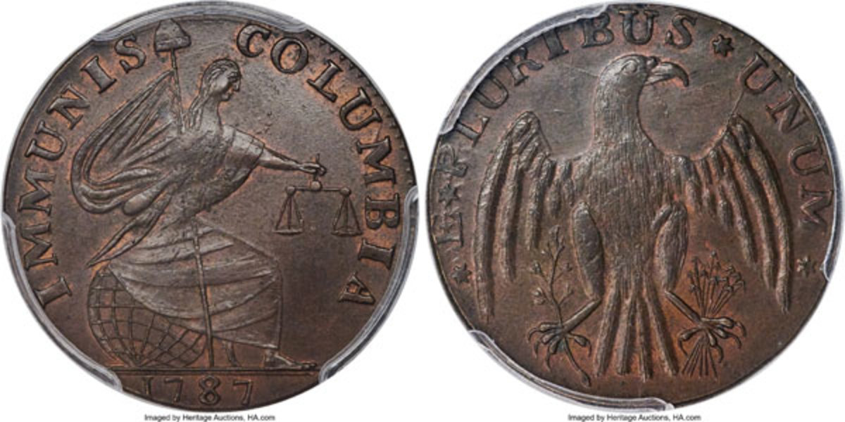 Selling for $78,000, this coin is the single-finest certified 1787 Immunis Columbia copper at either of the leading grading services. Both obverse and reverse are well centered and the design elements are sharply detailed throughout.