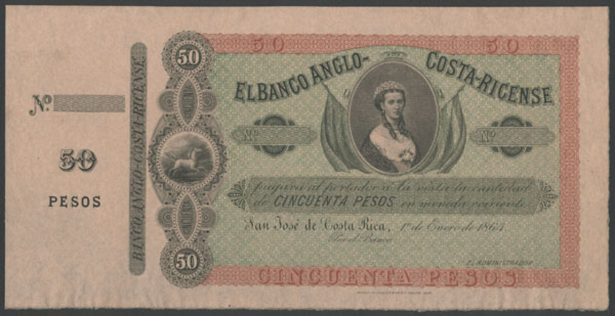 Not Queen Victoria: The El Banco Anglo-Costa-Ricense 50 pesos specimen of 1 January 1864 (P-S110s) sold at Spink's NYINC sale with its central vignette showing Princess Alexandra of Wales. (Image courtesy and © Spink)