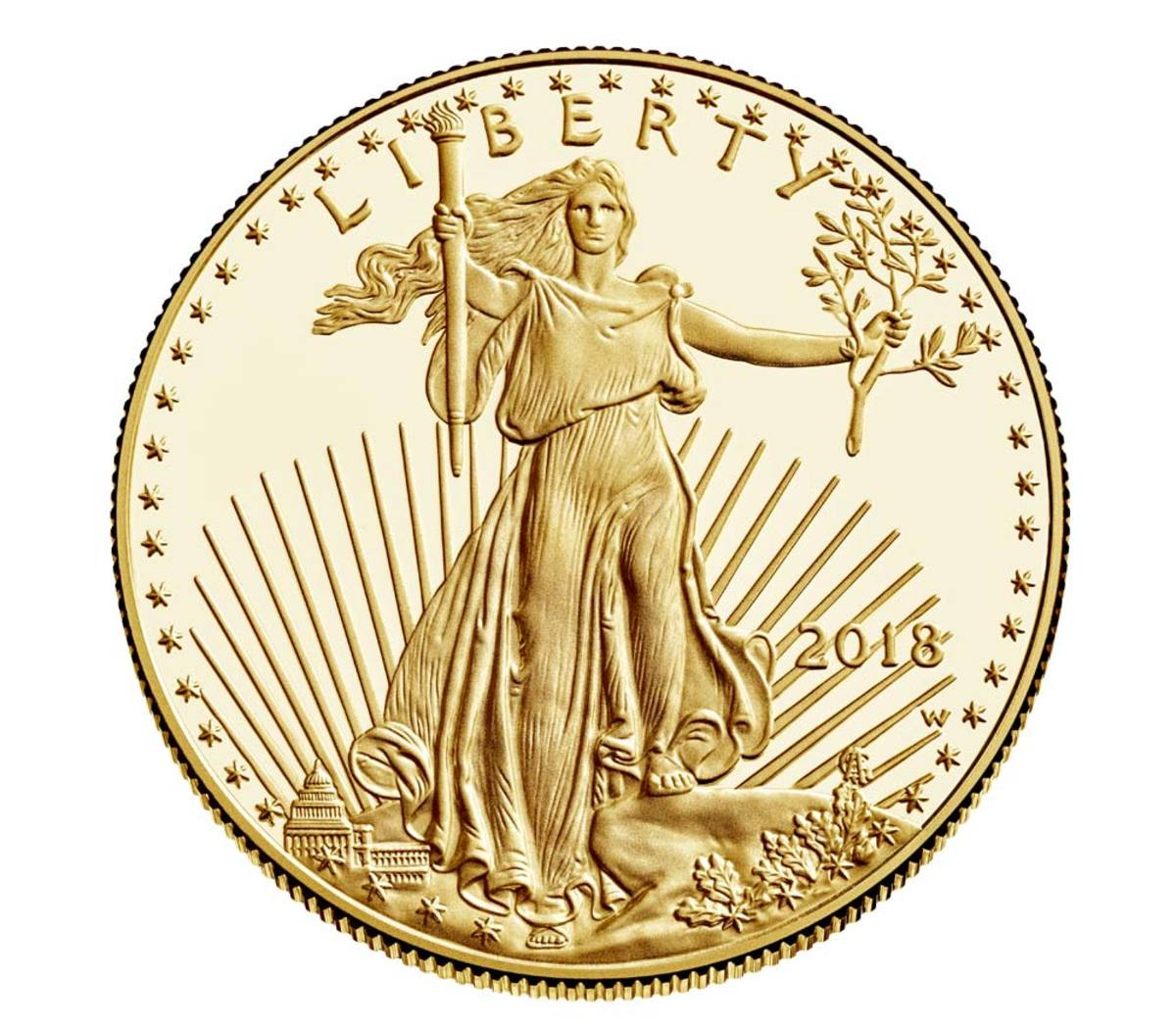 Shown is an American Eagle 2018 One ounce Gold Proof Coin. (Image courtesy of U.S. Mint.)