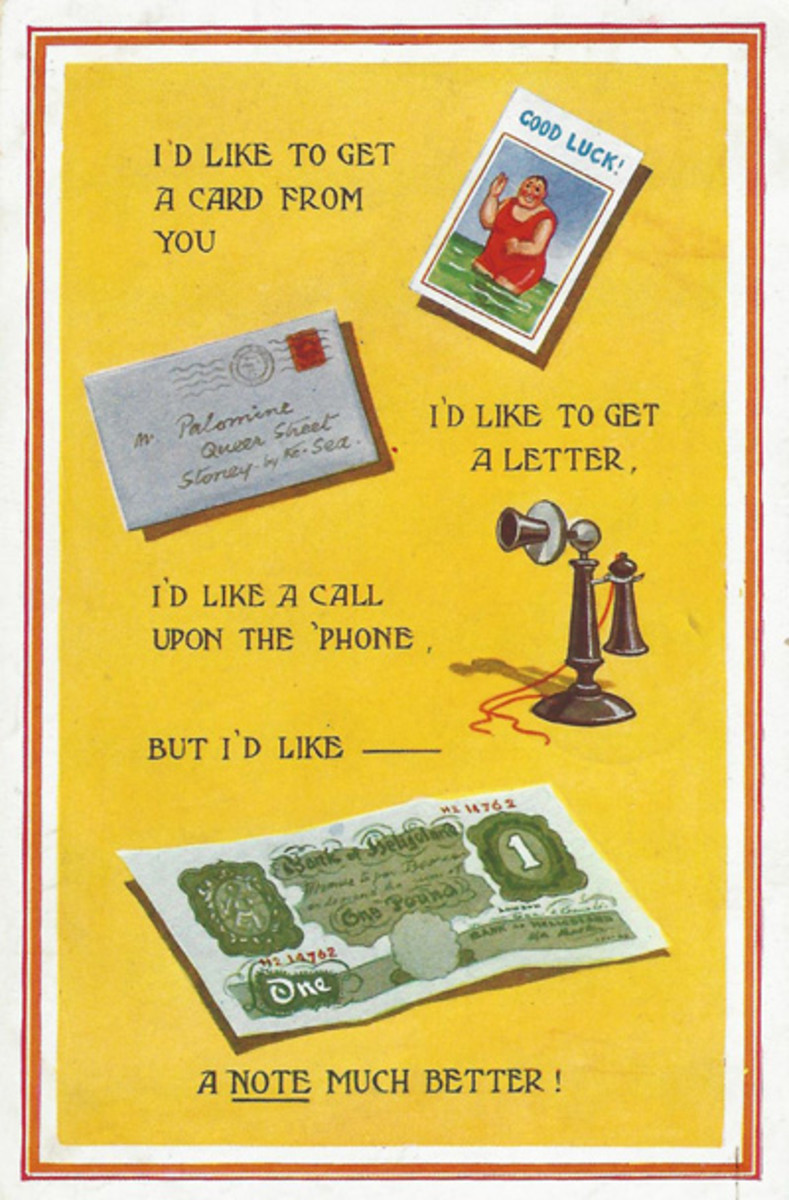 This English card shows some intriguing images, such as the old-style telephone.