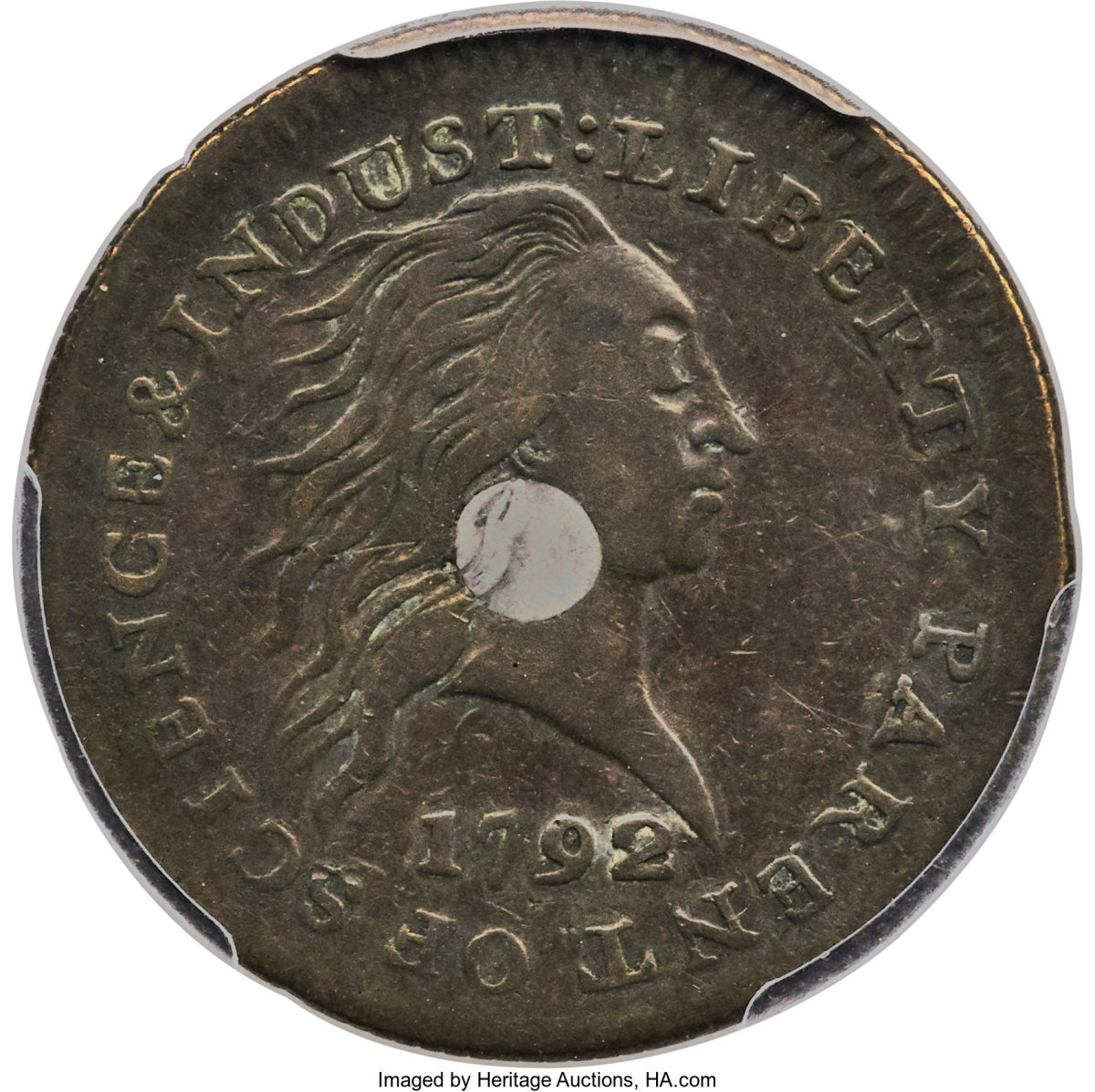 A 1792 Silver Center cent, graded SP35 by PCGS sold for $336,000.