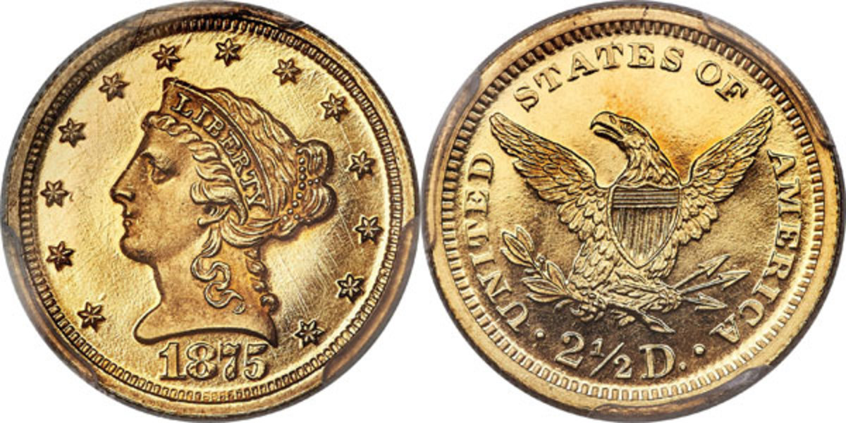 Each side of this magnificent rarity shows even reddish-gold color. The surfaces are lightly hairlined, but the only pedigree identifiers we see are a few lint marks near star 3. The sharply detailed, frosty design elements contrast profoundly with the deeply mirrored fields to create an intense cameo effect. While several high-grade proofs are known of the 1875 quarter eagle, they are infrequently offered at public auction.