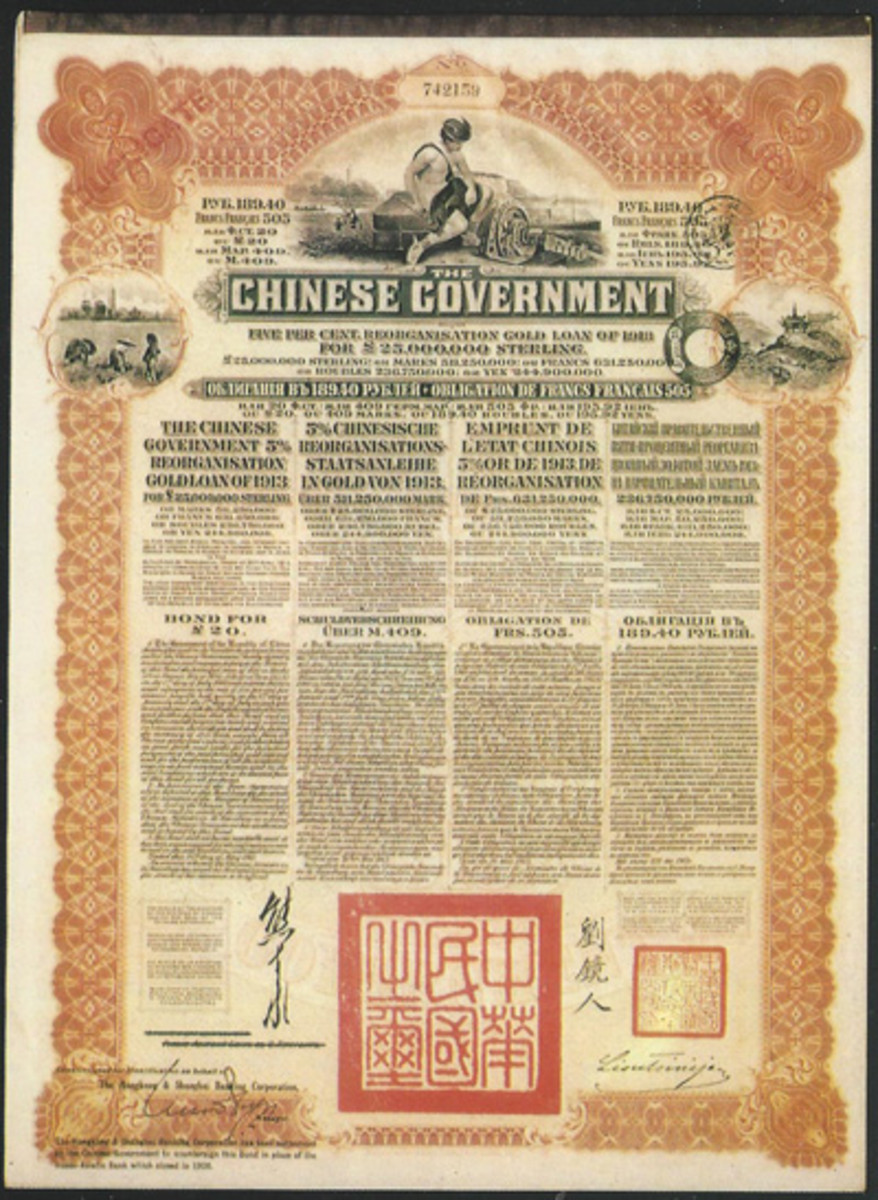 A magnificent 1913 bond from China makes a great card for this article.