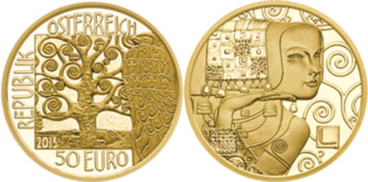 The 2013 Austria Klimt and His Women: The Expectation gold coin won the 2015 Coin of the Year Award.
