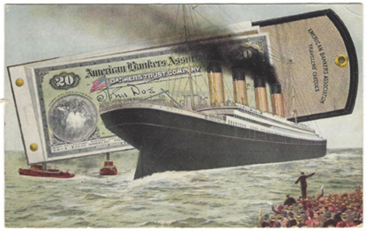 A card such as this brings forth the tragic story of a great ship and passengers, some of whom would certainly have been carrying ABA traveler's checks.