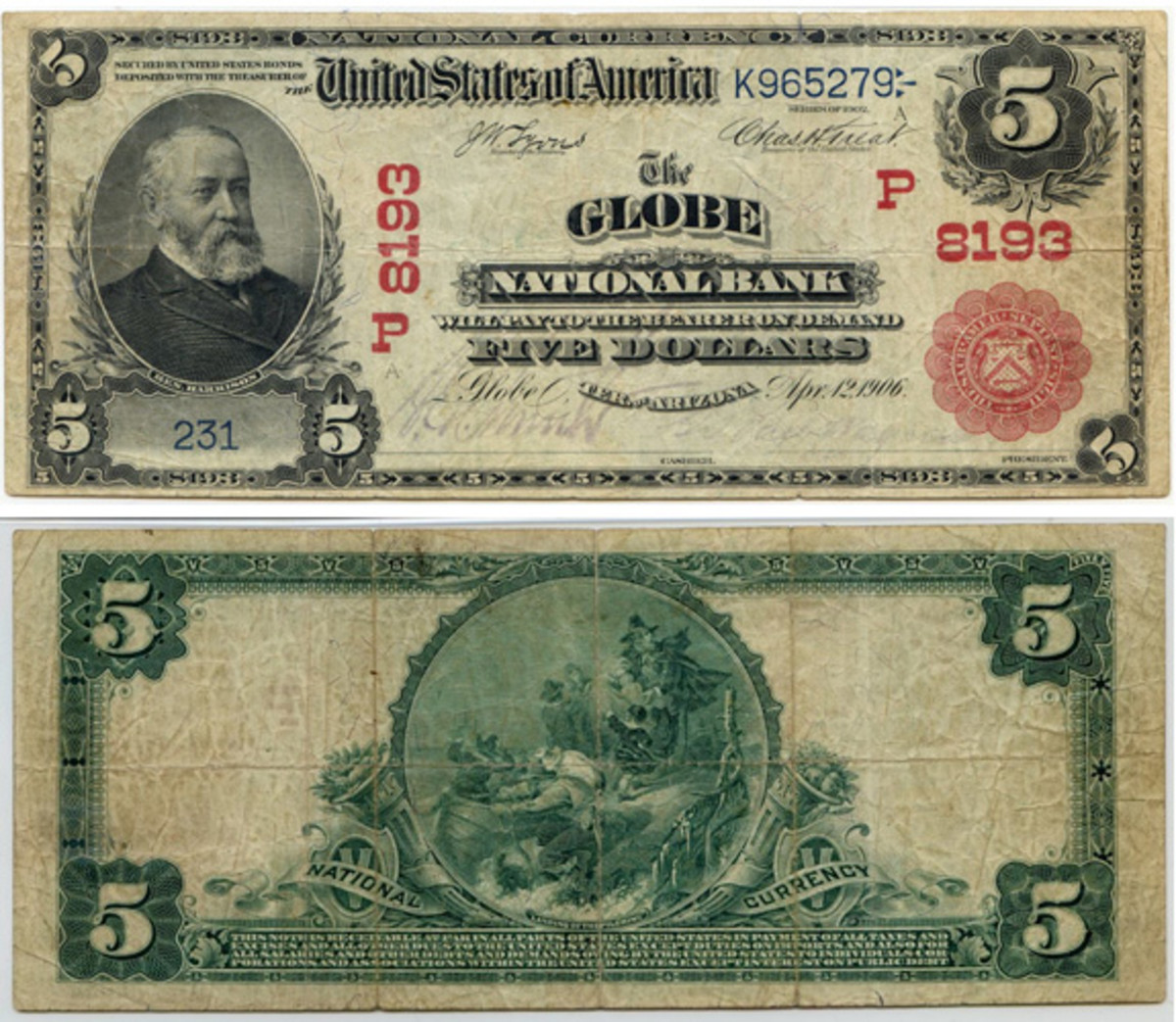 Sensational first-reported $5 Series of 1902 Red Seal from the Territory of Arizona. This Globe note was shipped to the bank from the Comptroller of the Currency's office on March 16, 1907, in the first shipment of $5s consisting of 5-5-5-5 sheets 1 through 830.