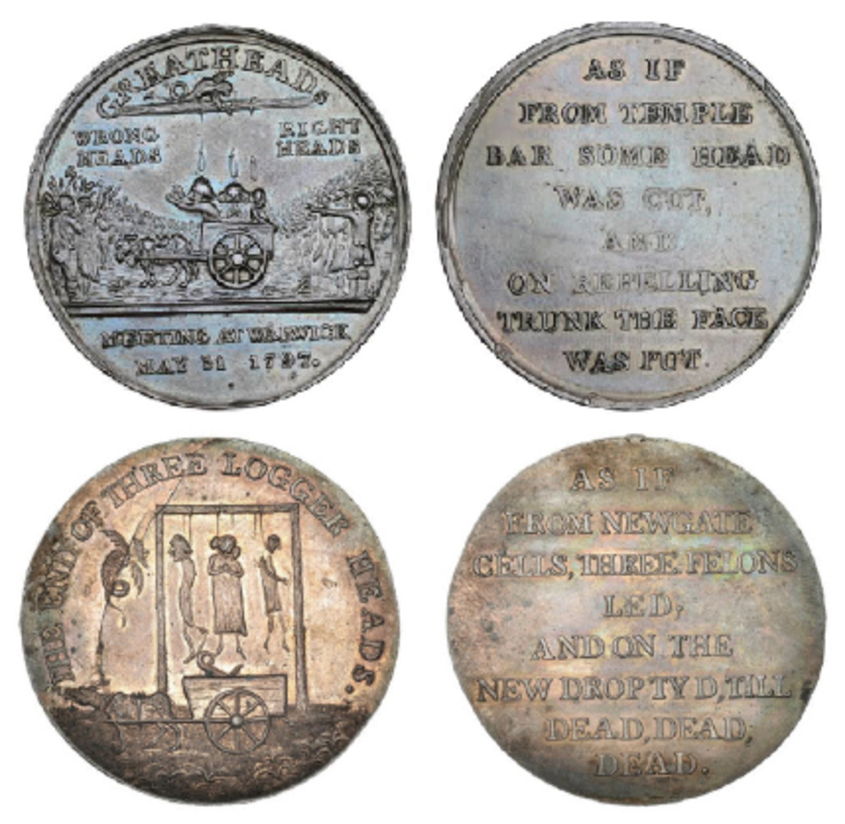 Obverses and reverses of the two Greatheed Petition meeting medals, several of which have been sold in recent years by Dix, Noonan & Webb. (Images courtesy & © DNW)