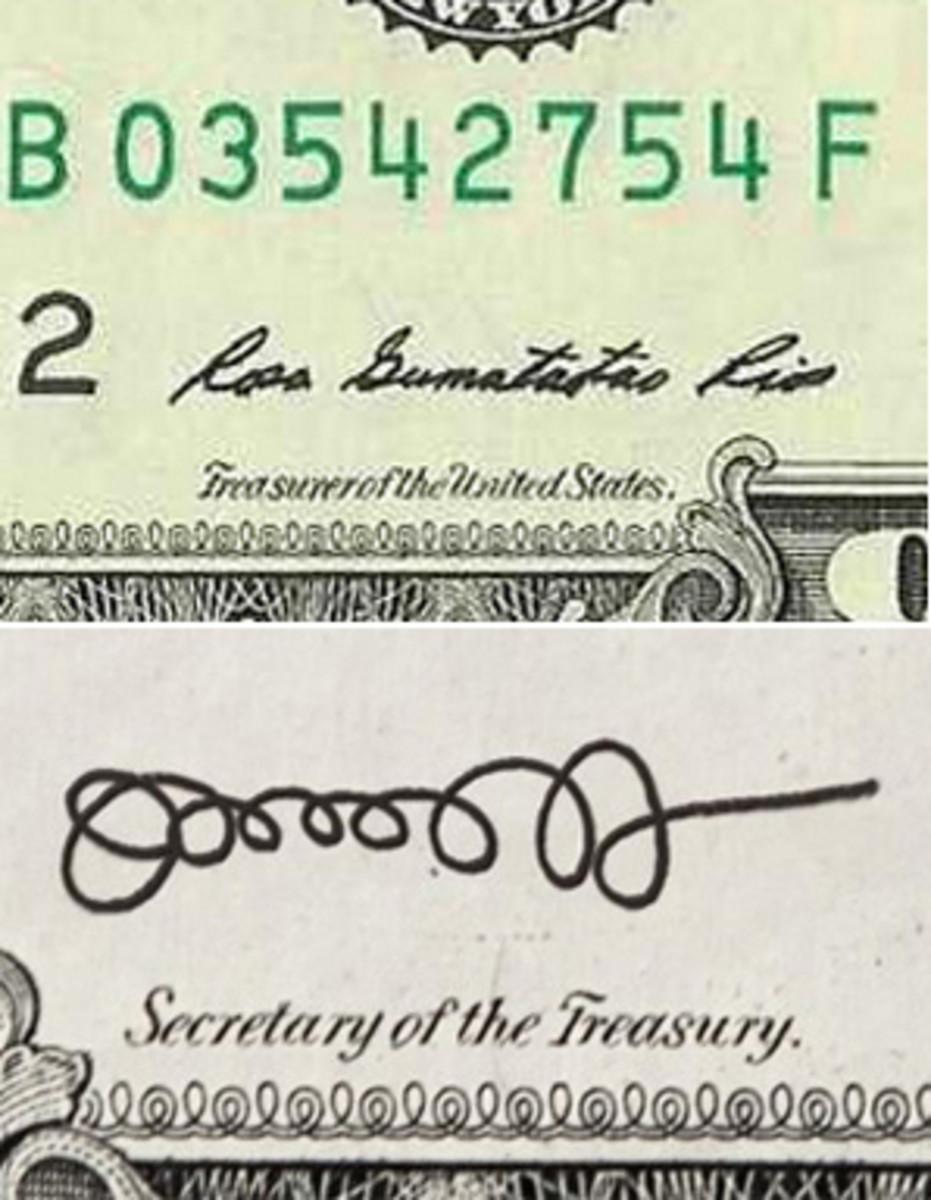 Currently Rosa Gumataotao Rios and Jack Lew share the signature duties on Series 2013 notes.