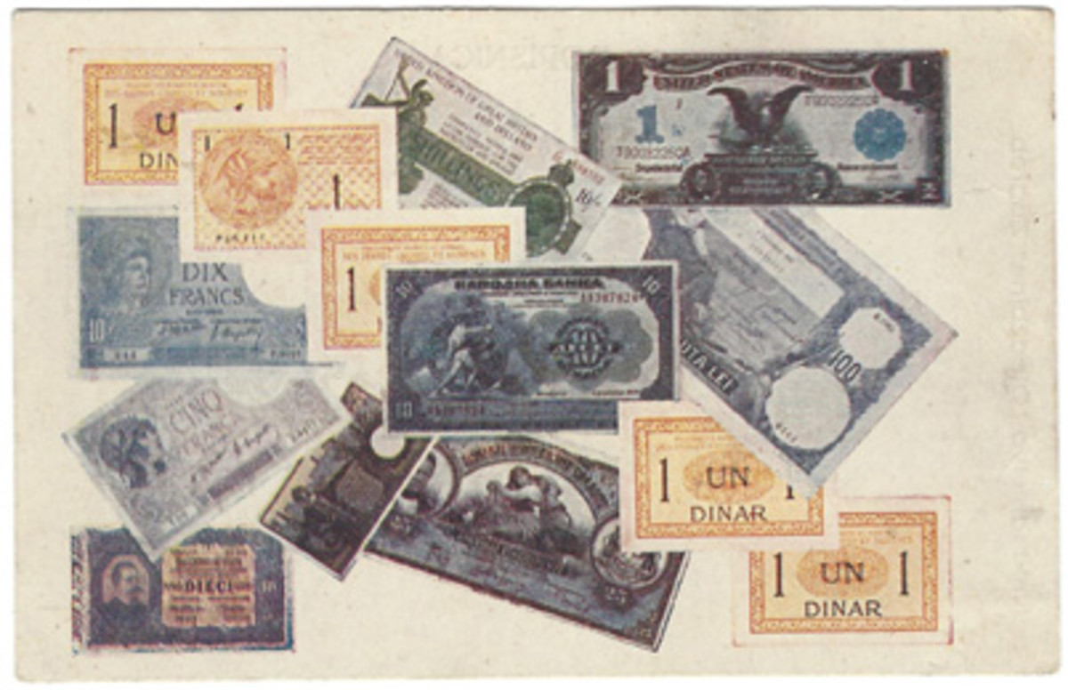 An unusual sight on these cards is a panorama of notes from different countries. Represented here are early Yugoslavia (six), France and Italy (two each), and Greece, England, the United States, and Romania (one each). The card was printed in Yugoslavia.