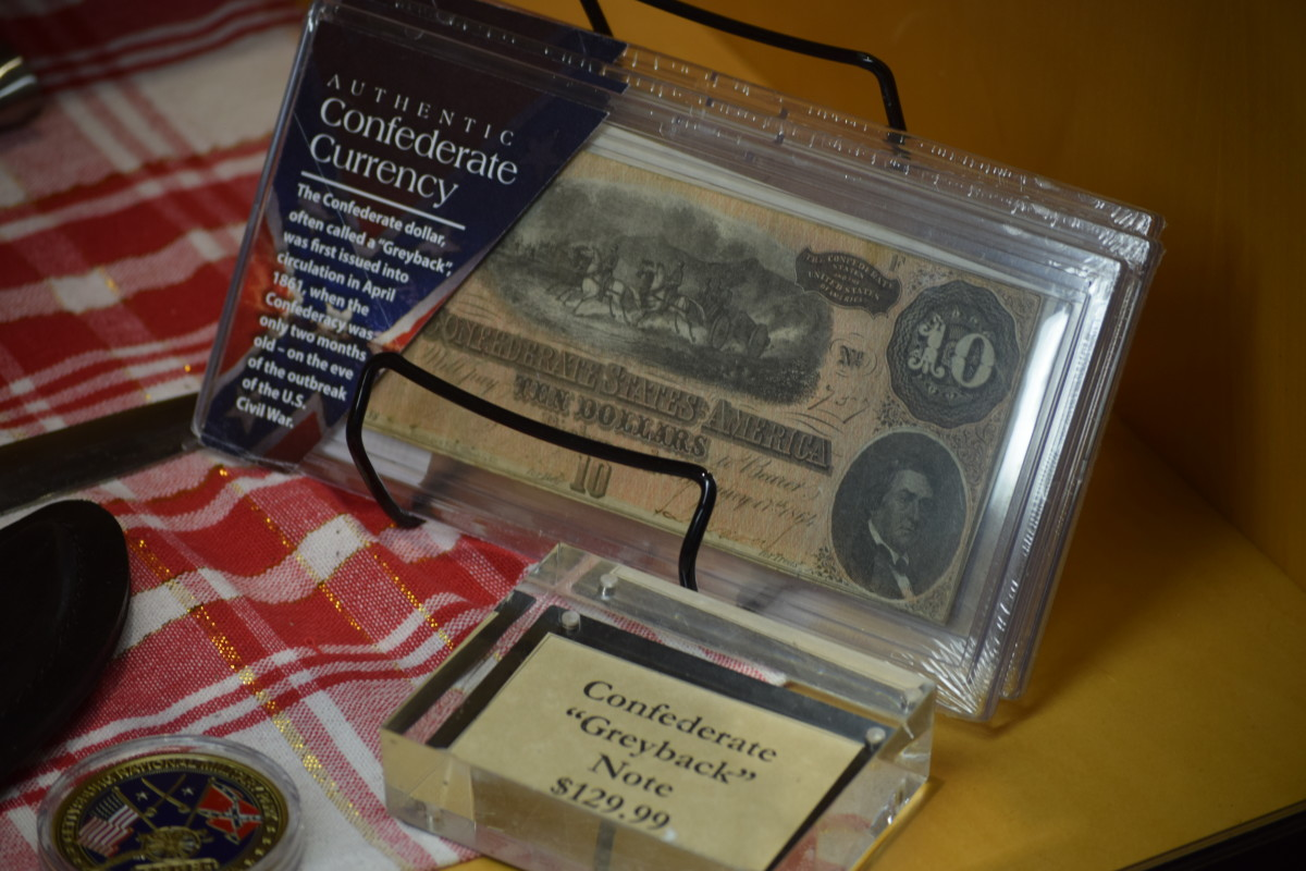 "Found by one of our youngsters in the Gettysburg Museum, a Confederate ""Greyback"" note for sale."