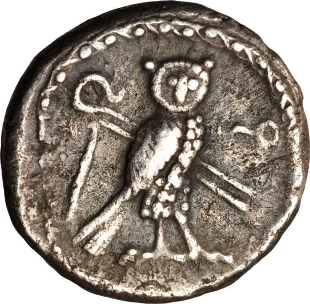 An owl appears on a 4th century B.C.E. silver shekel of Tyre. Image courtesy of Stack's.