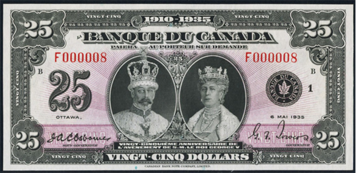 Highly-collectible French text, Canadian $25 issued in 1935 showing King George V and Queen Mary in their coronation robes. In PCGS Choice About New 58PPQ and with serial F000008, it realized $22,800. (Image courtesy and © Heritage Auctions, www.ha.com)