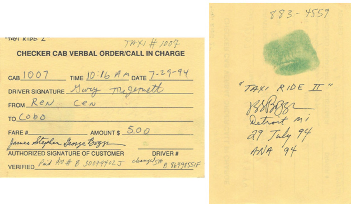 This is the receipt given to Boggs for his $10 value drawing. The taxi driver filled it out and both he and Boggs signed it. Boggs made the necessary annotations on the back, again with thumbprint.