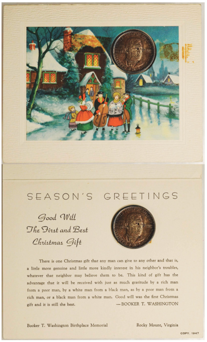 Outer and inner of the Booker T. Washington Birthplace Committee 1947 Christmas card. The cutout shows a 1946 Booker T. Washington Memorial commemorative half dollar. The inner card carries an extended quote from Washington on the meaning of Christmas. (Images courtesy Stack's Bowers)