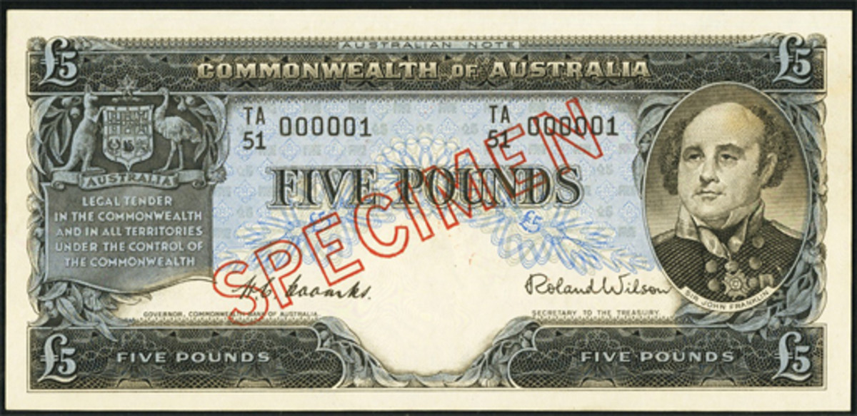 Scarce Australian £5, ND (1949-54), P-31s, with serial TA51 000001 i.e. SPECIMEN has been overprinted on a note originally intended for circulation. It proved a steal at $21,600 in PCGS Choice New 63. (Image courtesy and © Heritage Auctions, www.ha.com)