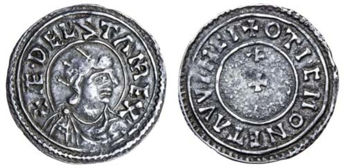 Top-selling silver penny of Aethelstan (24-939 C.E.) showing the monarch's crowned bust (S-1095) that realized $8,632 in VF at Spink's sale of the last portion of the Williams collection. (Images courtesy and © Spink)