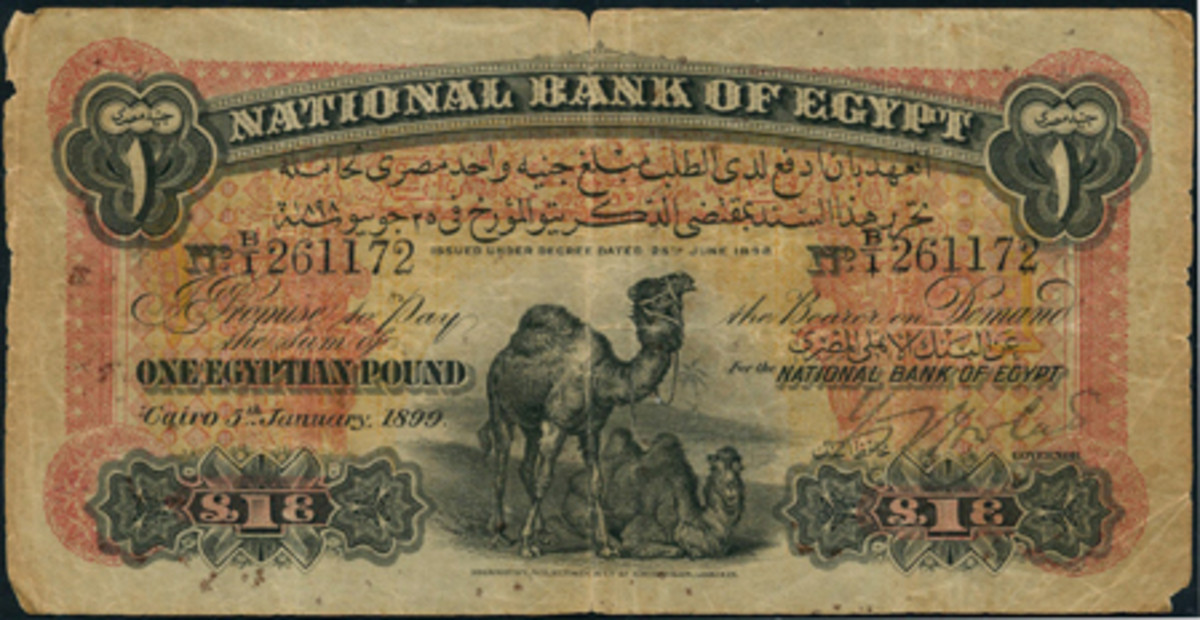 Extremely rare and pre-loved Egypt pound of June 25, 1898, P-2b, that realized the top price of $26,311 at Spink's April 26-27 sale. (All images courtesy and © Spink, London)