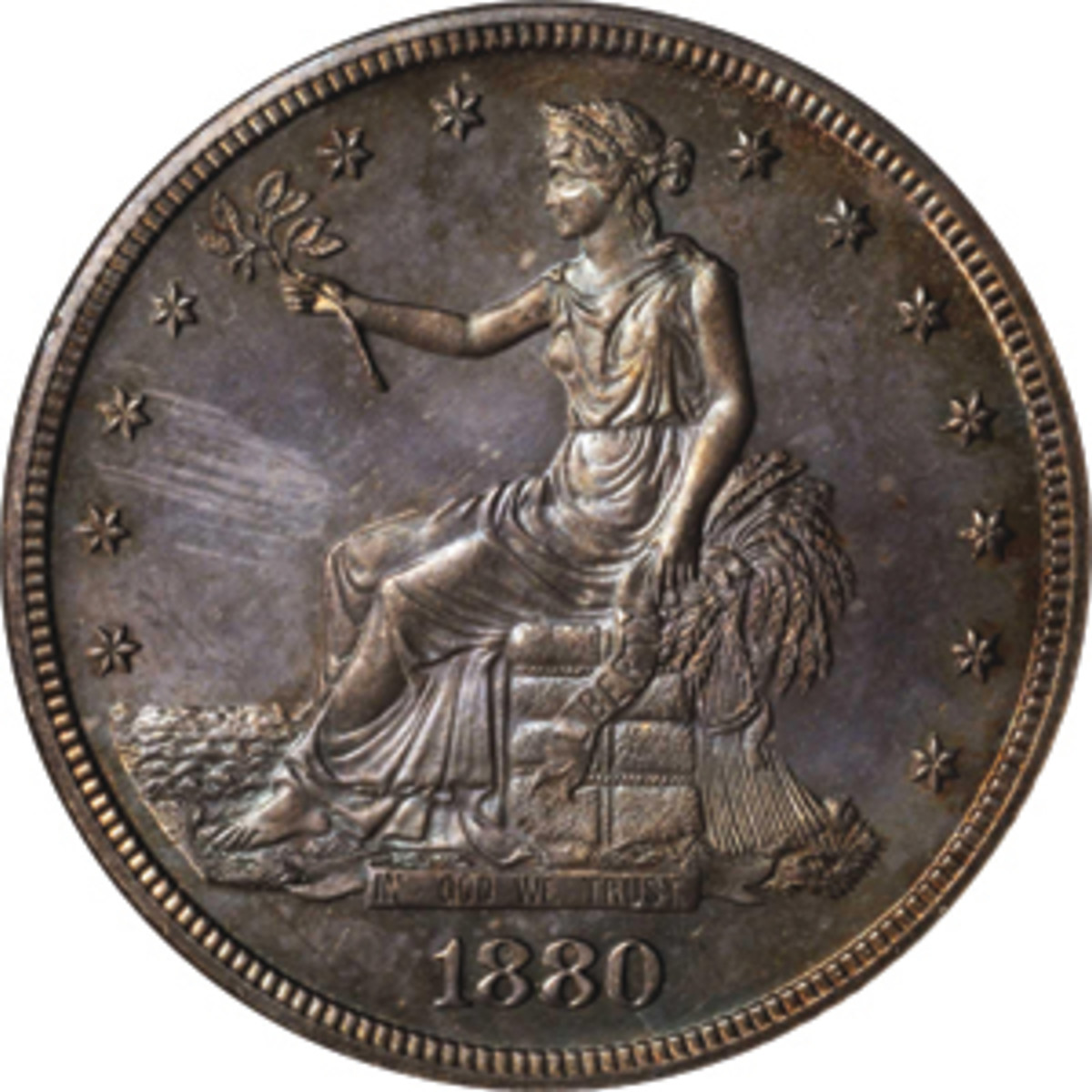 One of Walter Breen's Christmas stocking stuffers: Gorgeous Numismatic Guaranty Corporation Proof-64 1880 Trade dollar. (Image courtesy Stack's-Bowers)