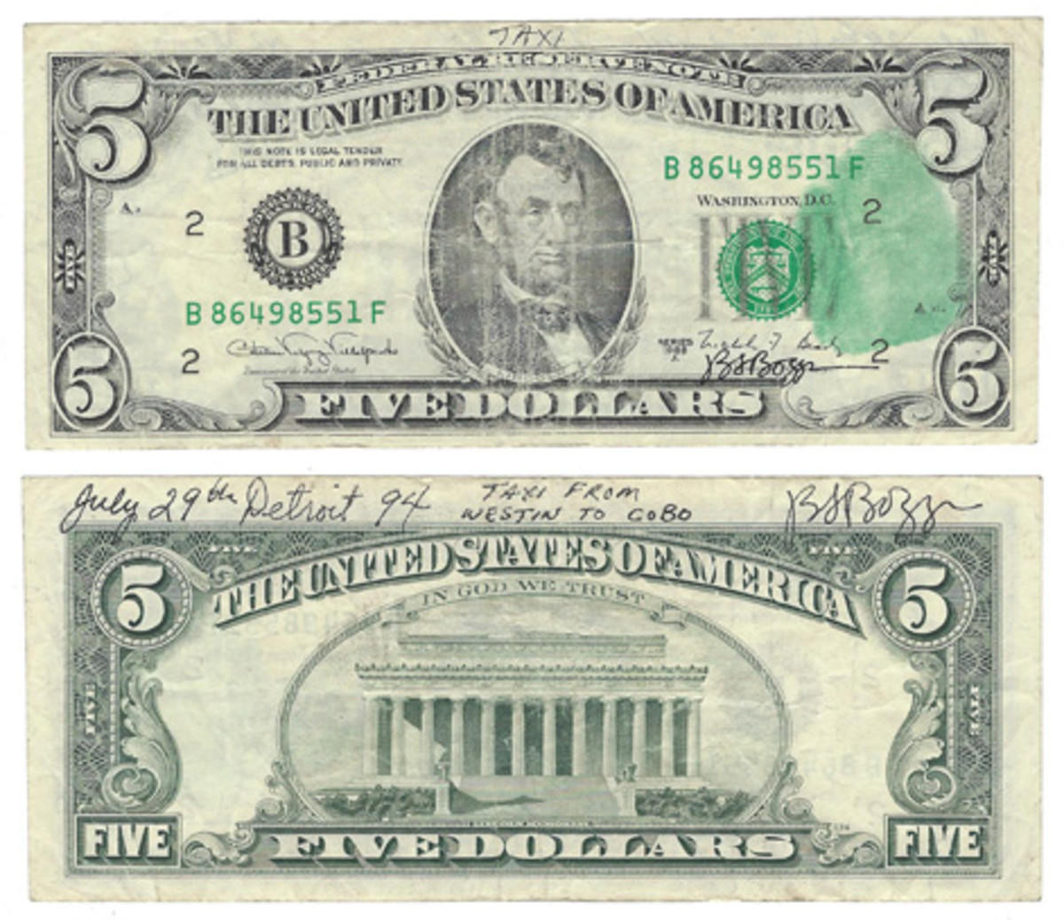 This is the $5 FRN tendered to Boggs as change for his $10 Boggs Bill. Both sides of the note have annotations by Boggs. Thumbprint is on the face, and the back has specifics about the whole episode.