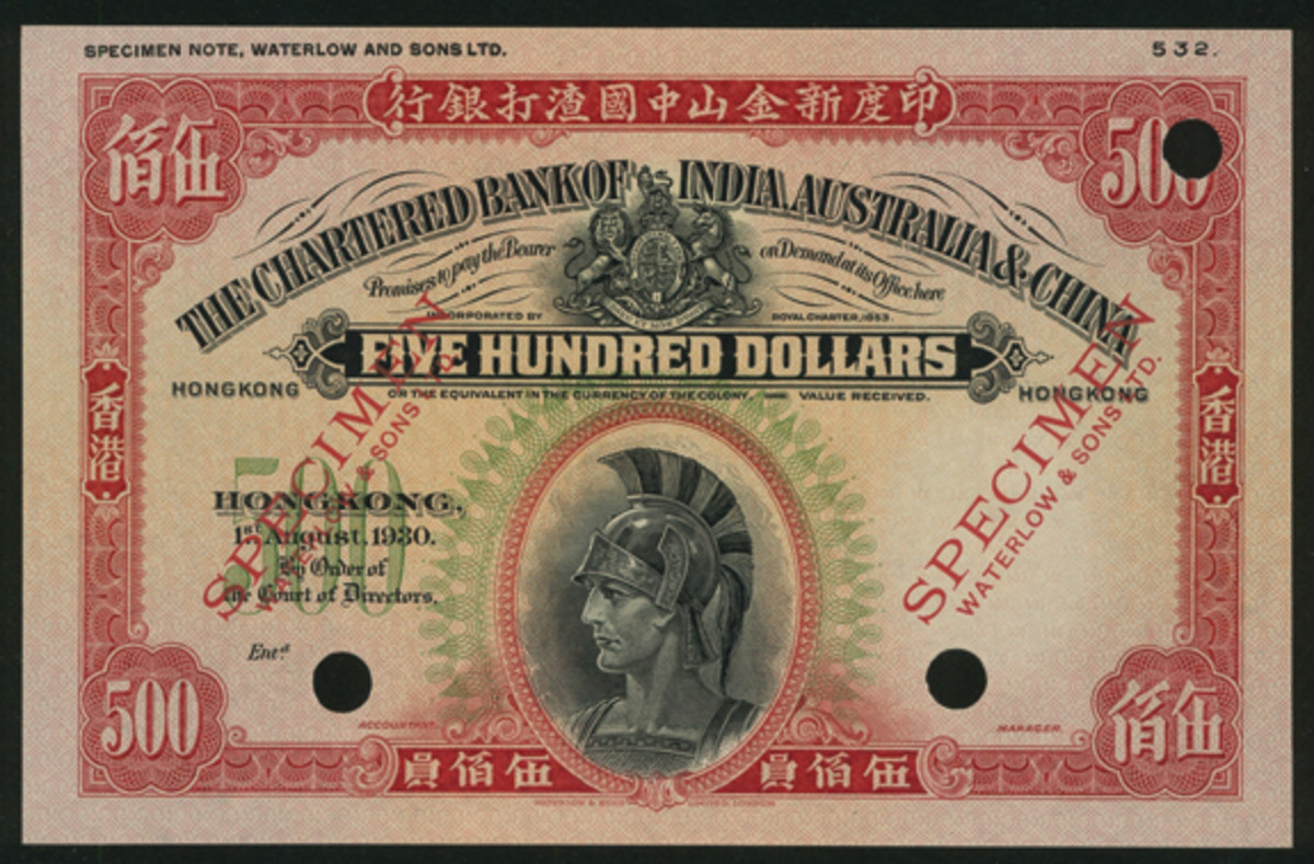 The noblest Roman of them all? The Big Roman $500 of the Chartered Bank of India, Australia and China (P-58cs) that took $119,465 in PMG 64 Choice Uncirculated in Spink China's early January sale. (Image courtesy and © Spink, China)