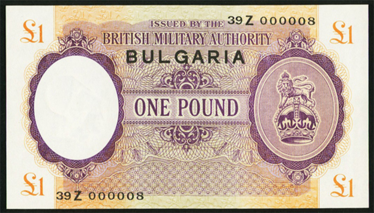 One of only 25 printed WWII British Military Authority £1 notes with BULGARIA overprint (P-M6b; S-B-306c). In PMG About Uncirculated 53, it saw $9,600. ((Image courtesy and © Heritage Auctions, www.ha.com)