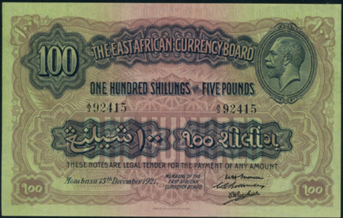 The magnificent East African 100 shillings of 1921, P-16, that took $18,589 in a remarkable PCGS 63PPQ.