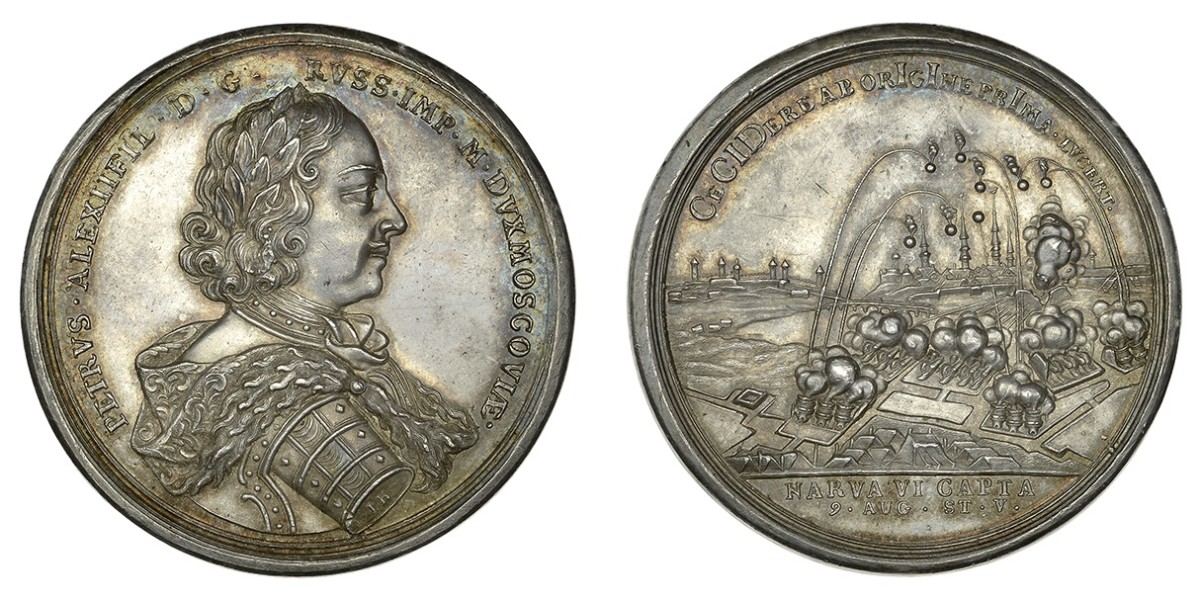 Rare Peter the Great silver medal of 1704 commemorating the Capture of Narva. In EF it will carry an estimate of £3,000-4,000 when offered for sale by Dix Noonan Webb on Sept. 17. Images courtesy DNW.