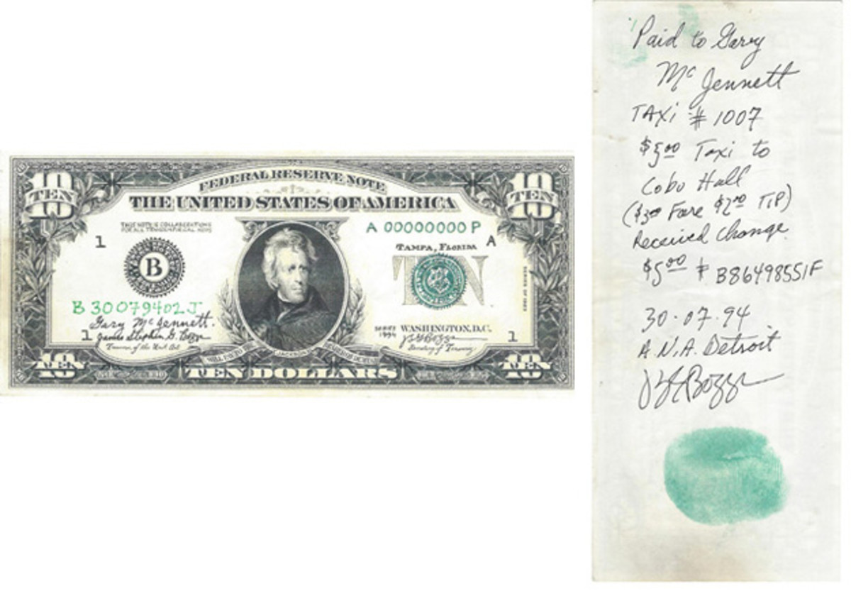 """This is the purported $10 value Boggs Bill that the taxi driver accepted as payment for the $5 ride to the convention site. A real $5 Federal Reserve Note was given as change to Boggs. He annotated the back along with his thumbprint. This note, along with the receipt and the change, all shown elsewhere, make up a complete """"transaction."""""""