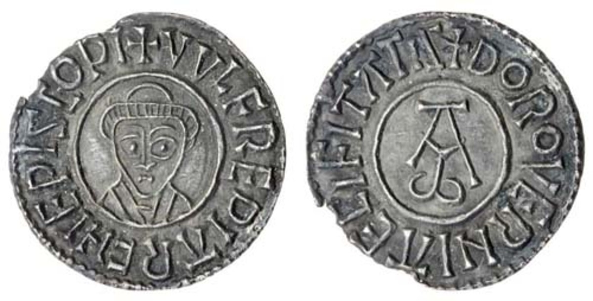 Twelve hundred years old and in superb condition: penny of Wulfred, Archbishop of Canterbury (S-887), found in France in 1991 and which fetched $5,502 in EF. (Images courtesy and © Spink)