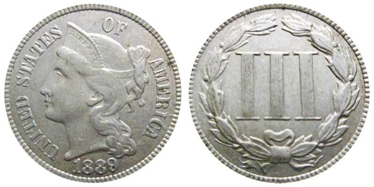 An 1889 nickel three-cent piece can range in price from $90 to $500, depending on condition, according to U.S. Coin Digest.  (Image courtesy of USACoinBook.com)
