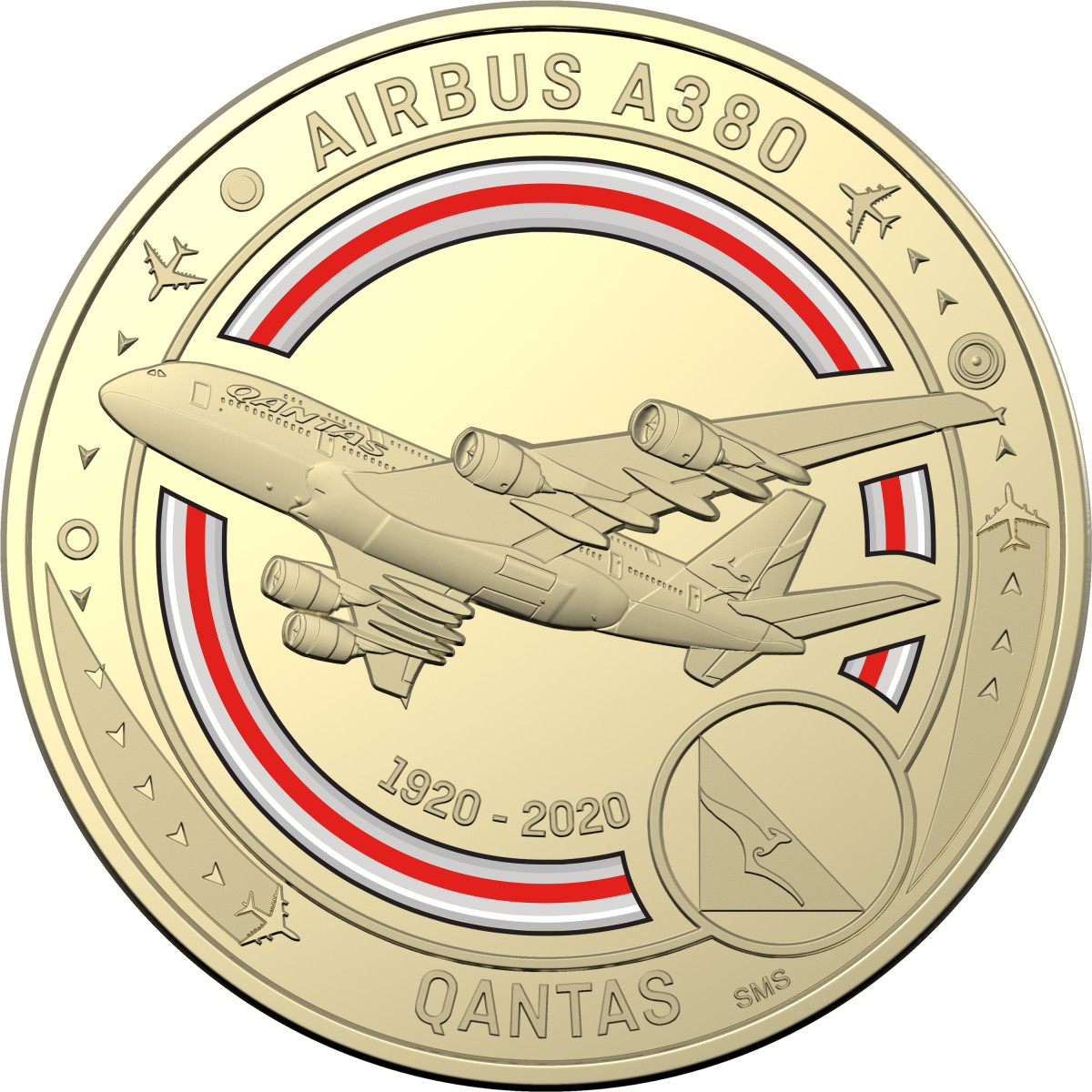 One of the 11 coins featured in the 11-coin set honoring the Qantas Centenary. Image courtesy of the Royal Australian Mint.