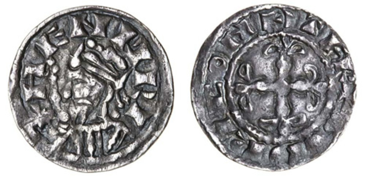 Only example known of this silver penny of Henry I (S-1263A) struck by moneyer Godric. In VF, it took a comfortable $3,930. (Images courtesy and © Spink)