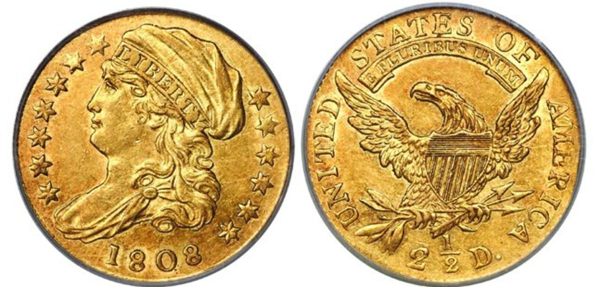 an 1808 $2.50 quarter eagle with bust facing left.