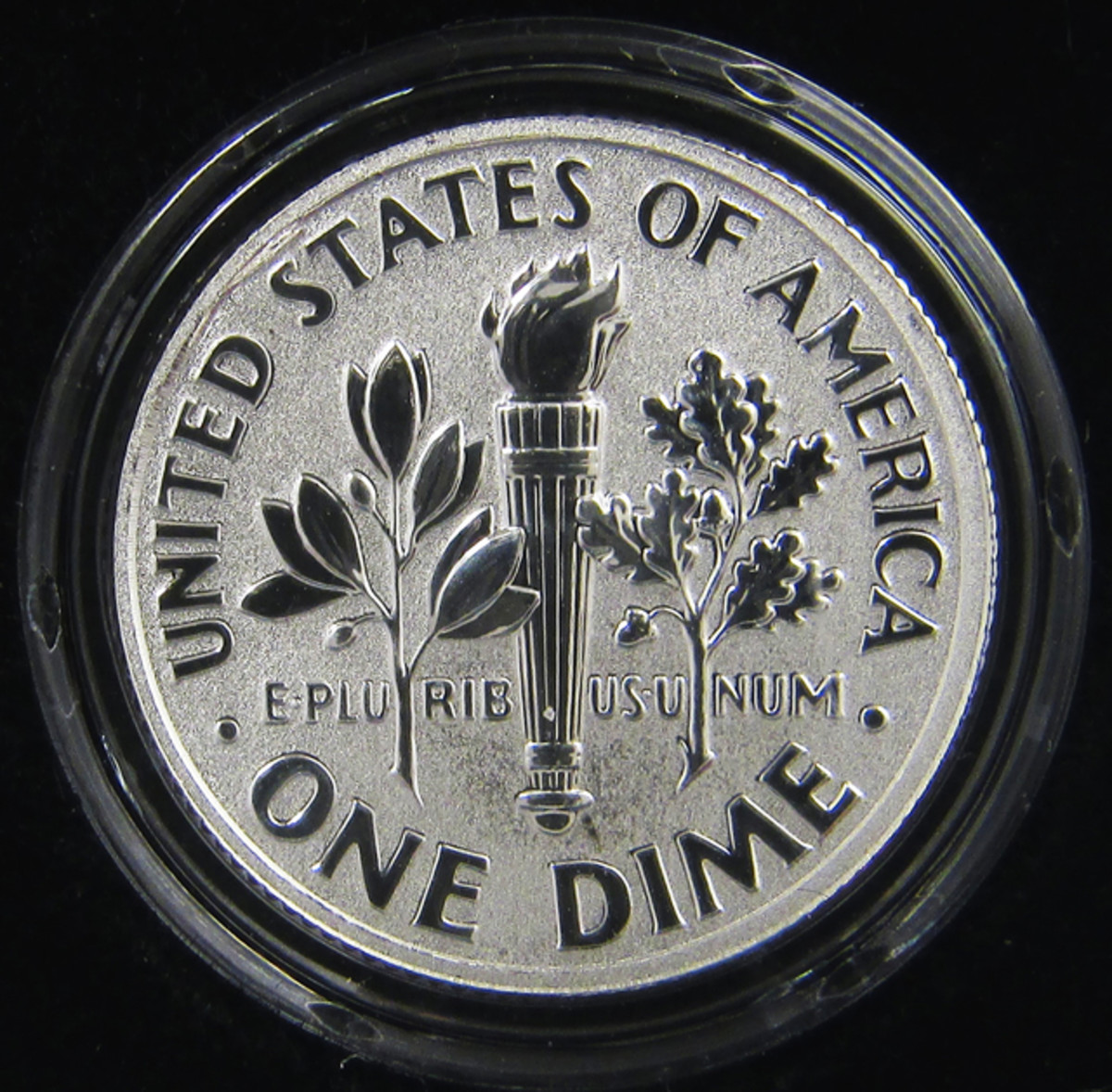 The reverse proof dime has mirrored design devices and frosted fields.
