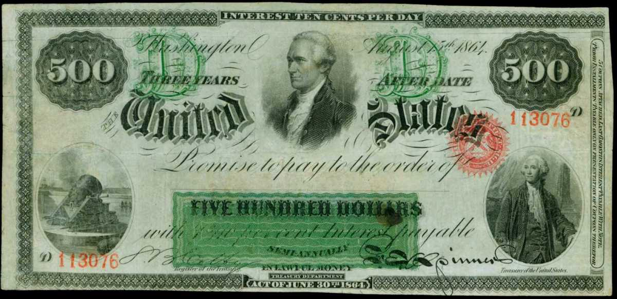 The front side of the top lot $500 Interest Bearing Note.