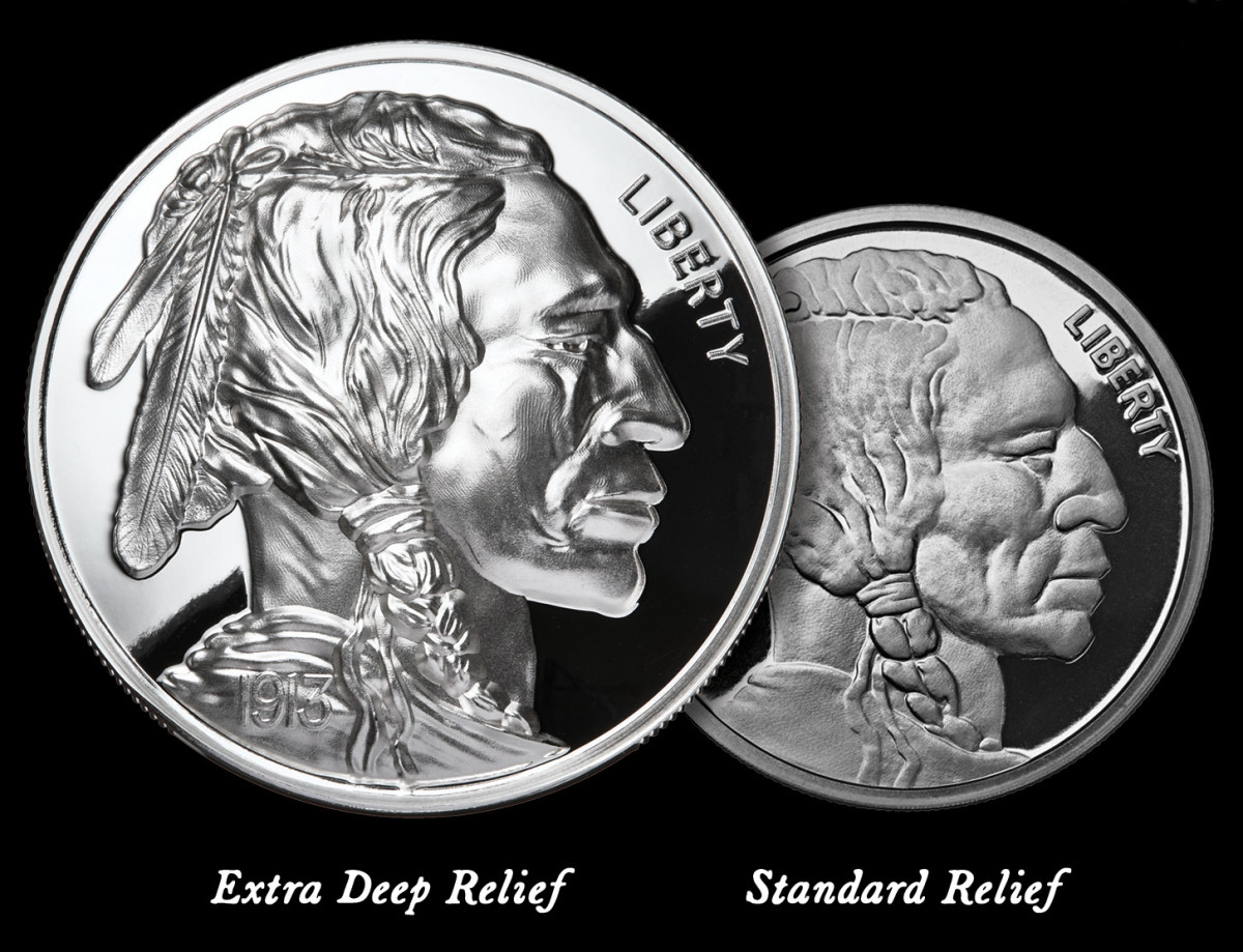 Shown side by side, note how the detail stands out on the American Legacy coin (left) with the extra deep relief compared to standard relief coins.
