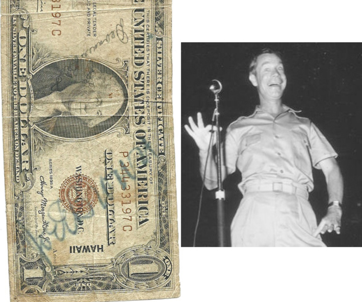 [Fig. 5] The bold vanity signature of Joe E. Brown can be seen on the HAWAII $1 at left from the author's collection. Also visible on this bill is the signature of Deannie Best, a B-movie starlet of the period. At right is a photo of Joe E. Brown entertaining U.S. troops in a USO show in the South Pacific during World War II.