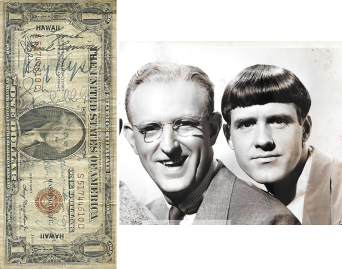 [Fig. 2] The $1 HAWAII note at left features the signatures of big band leader Kay Kyser along with Ish Kabibble and air ace Tom Lynch, among others. The vintage photo at right shows Kay Kyser (left) with Ish Kabibble around the end of World War II.