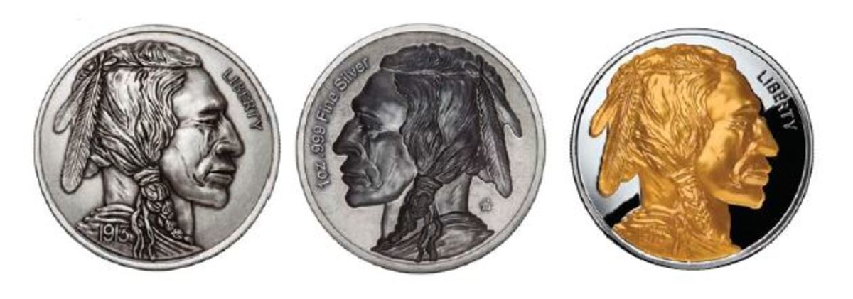 The first in the series, the proud Indian from the 1913 Buffalo nickel. This round is available in 3 finishes: proof, antique and colorized proof and can be purchased from Apmex.com.
