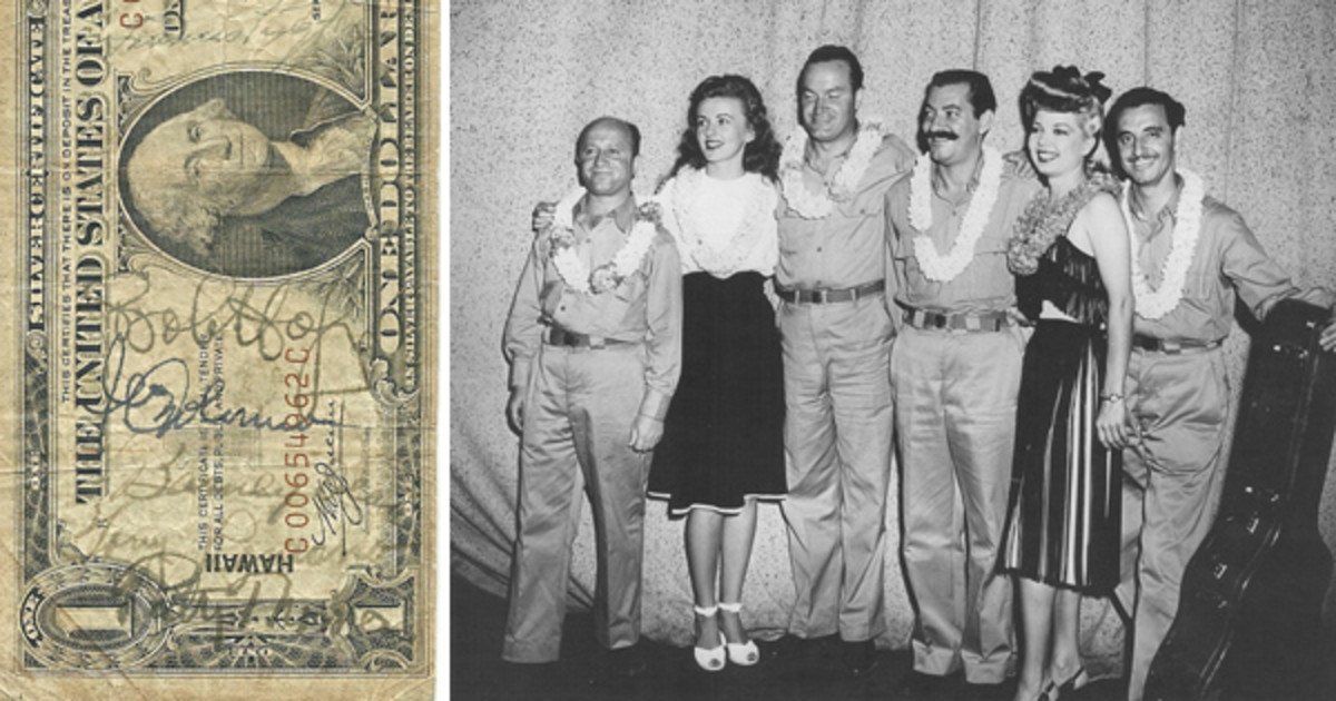 [Fig. 1] The Series of 1935-A $1 HAWAII note at left, from the author's collection, features signatures of Bob Hope and his entire USO entertainment troupe. From top to bottom are: Frances Langford, Bob Hope, Jerry Colonna, Barney Dean, Tony Romano, and Patty Thomas. At right, a photo from World War II showing Bob Hope and his entire troupe. From left to right are: Barney Dean, Patty Thomas, Bob Hope, Jerry Colonna, Frances Langford and Tony Romano.